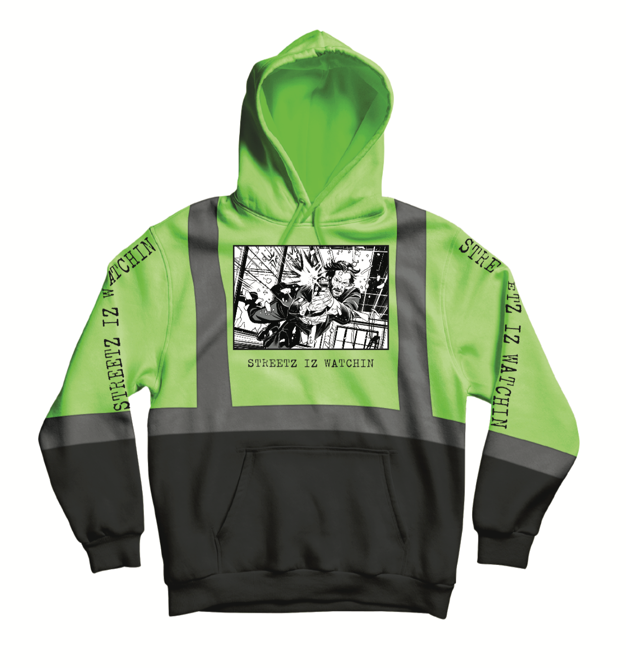 Mens Premium Reflector Black & Green Hoodie
