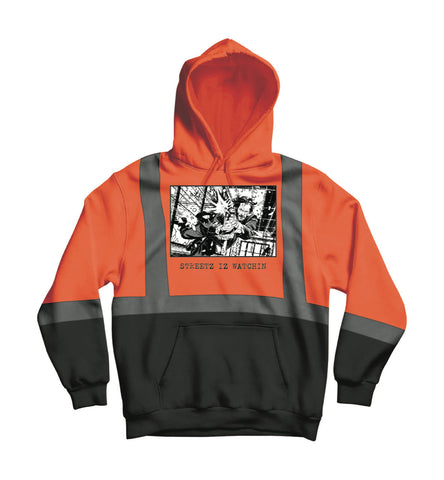 Mens Premium Reflector Black & Orange Hoodie