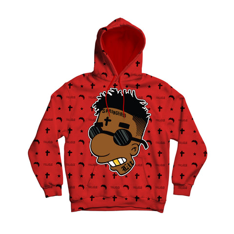 Trillhouse Red Cross and Moon pattern Men's Pullover Hoodie