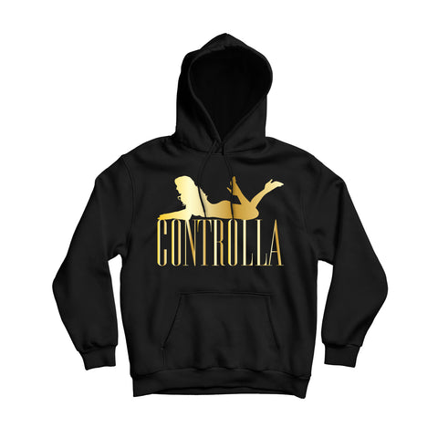 Controlla Men's Black And Gold Cotton Pullover Hoodie