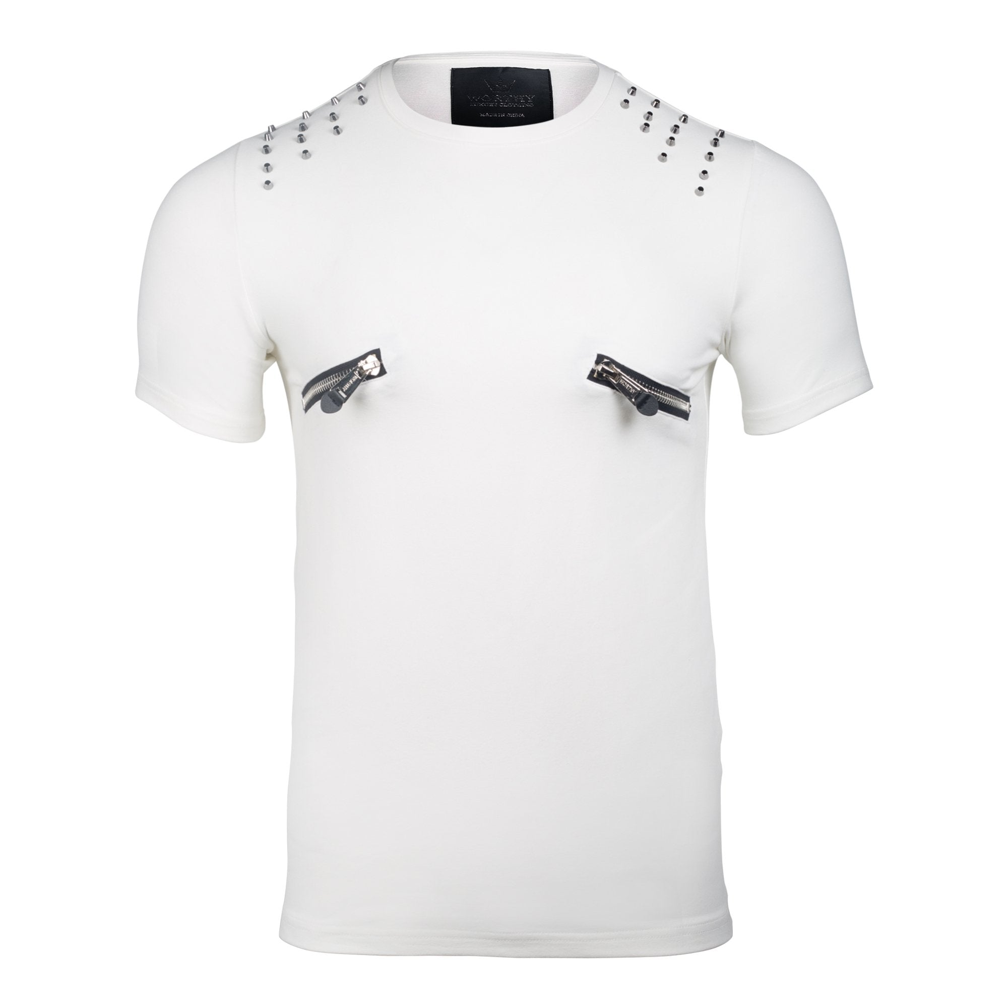 White Zipper Crew Neck T Shirts Classic Fit