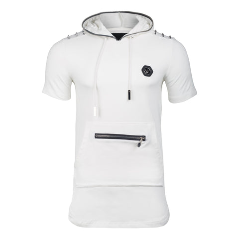 White Crew Neck Zipper Studded T Shirts Classic Fit