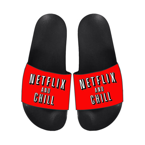 NETFLIX AND CHILL RED LIGHTWEIGHT SLIDES