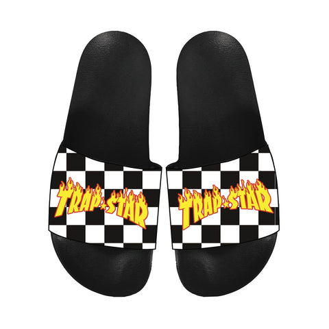 TRAP STAR BLACK/WHITE CHECKERED SLIDES