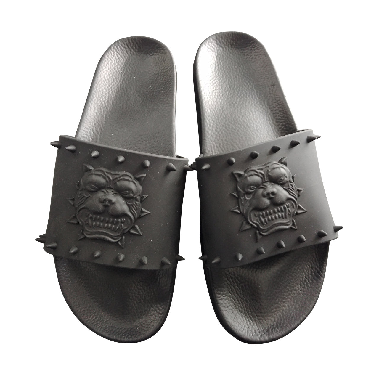 PITBULL GRAY WITH RUBBER SPIKE SLIDES
