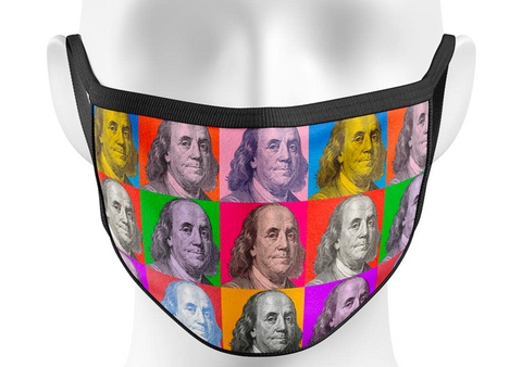 MULTI COLORED BENJAMIN LUXURY FACE MASK