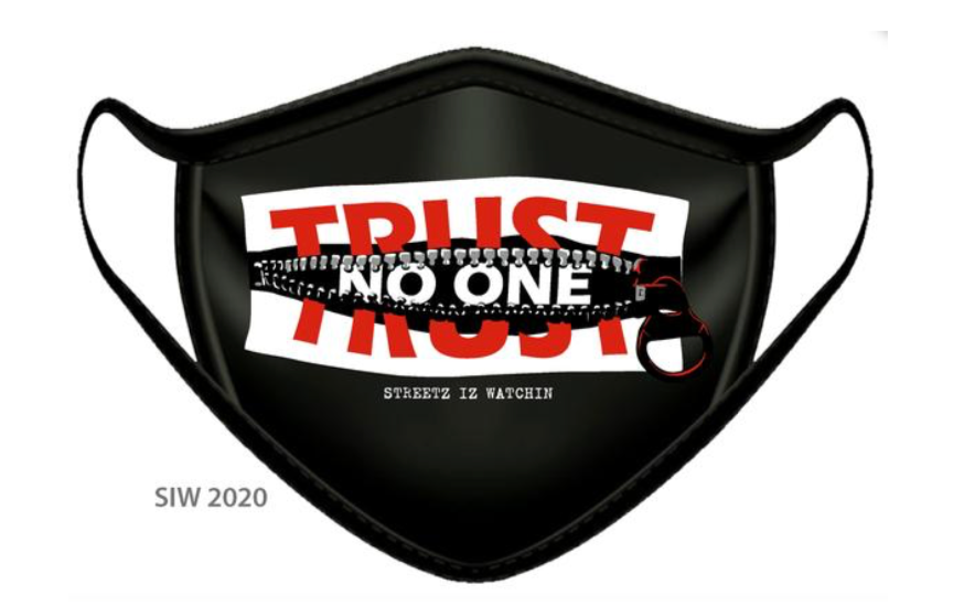 TRUST NO ONE LUXURY FACE MASK BLACK