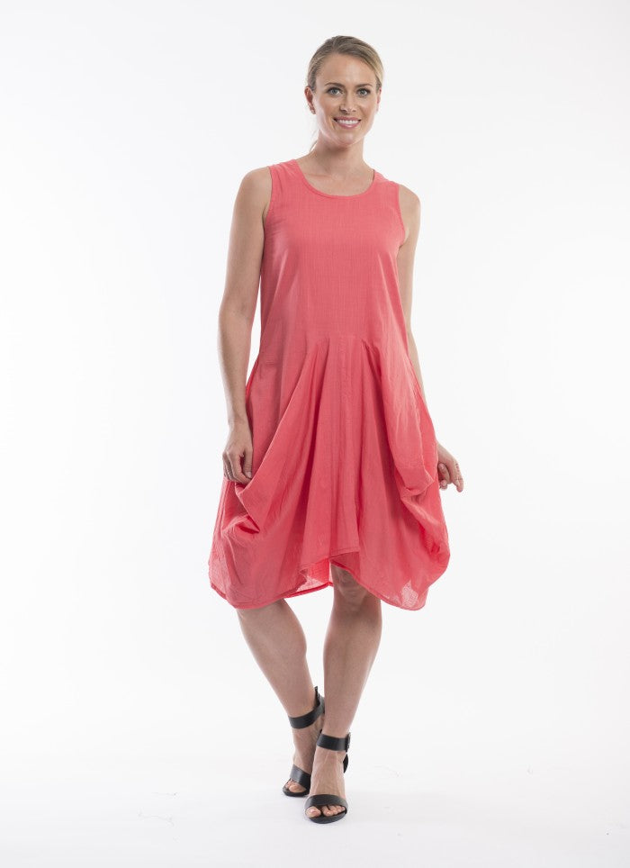 Essential Coral Bubble Dress - Orientique - Stranger.Things.Emporium, Clothing (Womens) - New
