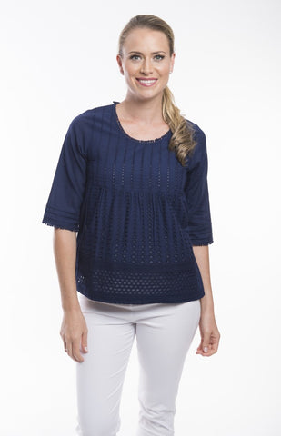 Essential Navy Broderie Top - Orientique - Stranger.Things.Emporium, Clothing (Womens) - New