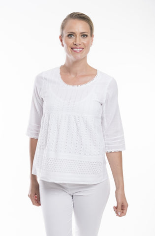 Essential White Broderie Top - Orientique - Stranger.Things.Emporium, Clothing (Womens) - New