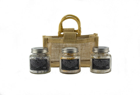 Trio Mini Bath Salts Hessian Gift Bag (NI170) - Stranger.Things.Emporium, Bath & Beauty Products