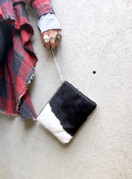 """Drew"" Cowhide Clutch - Multi Colours (Kitty Kat) - Stranger.Things.Emporium, Bags & Accessories (New)"