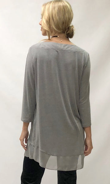 Long Sleeve Black Chiffon Hem Top STE002 - Stranger.Things.Emporium, Clothing (Womens) - New