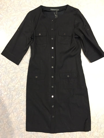 Sportscraft Black Shirt Fitted Dress. Size 10 (Past Lives #10625) - Stranger.Things.Emporium, Clothing (Womens) - Vintage & Preloved