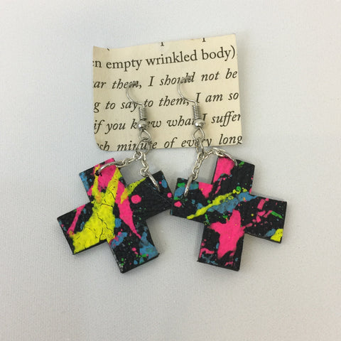 UV Paint Recycled Leather Cross Earrings (RR015) - Stranger.Things.Emporium, Bags & Accessories (New)