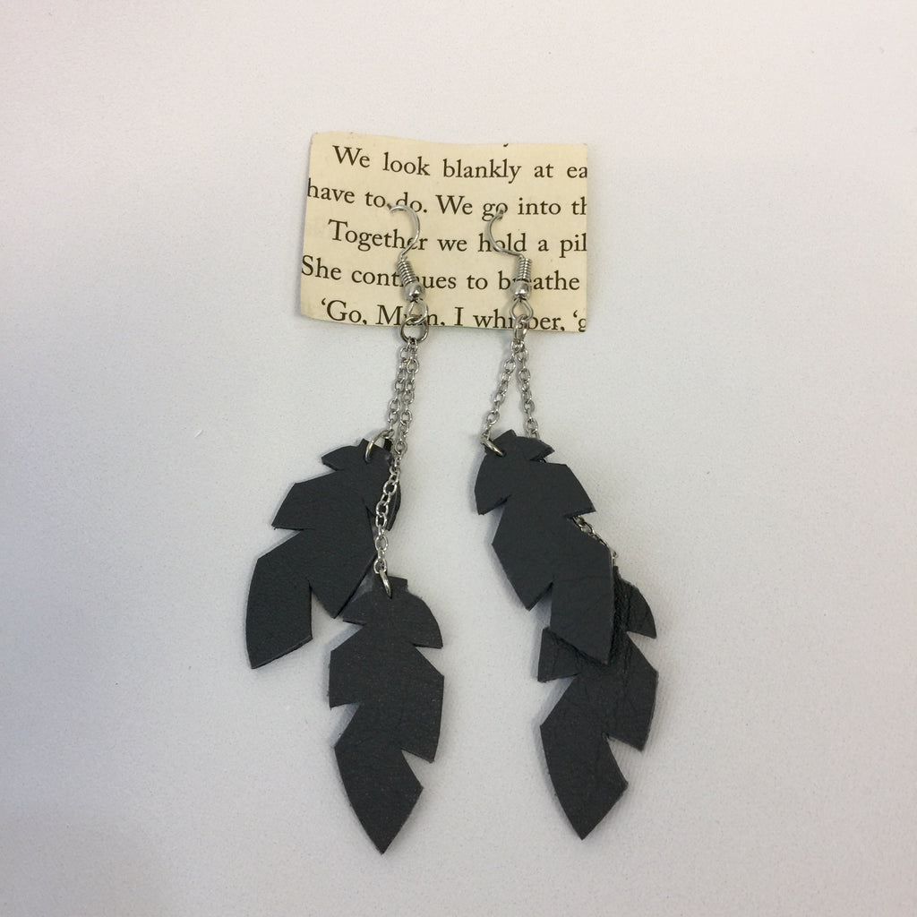 Recycled Leather Mini Triple Drop Feather Earrings (RR005) - Stranger.Things.Emporium, Bags & Accessories (New)
