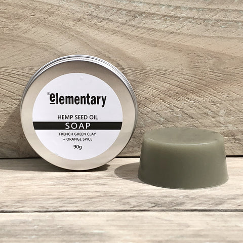 SOAP | Hemp Seed Oil Cleansing Bar with French Green Clay - Elementary Skin Care - Stranger.Things.Emporium, Bath & Shower Products