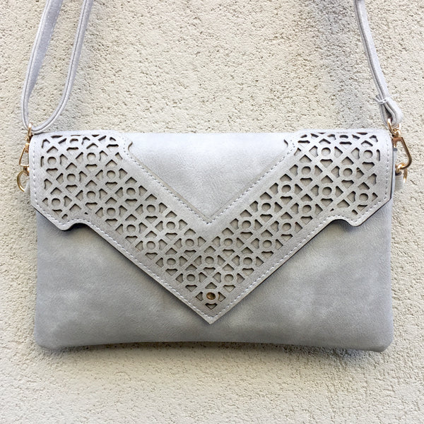 Evie Grey Vegan Leather Clutch Bag by Kitty Kat - Stranger.Things.Emporium, Bags & Accessories (New)