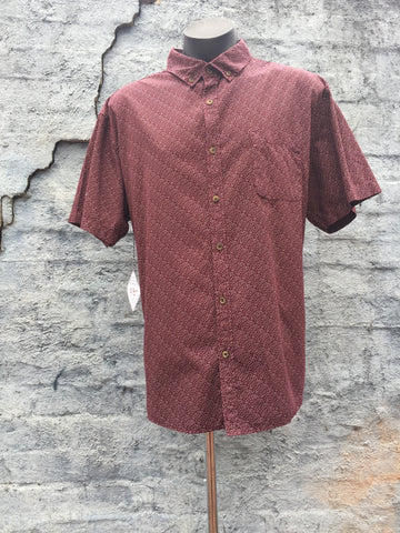 """Conner"" Men's Burgandy Print S/Sleeve Shirt (PL10426) - Stranger.Things.Emporium, Clothing (Mens) - Vintage & Preloved"