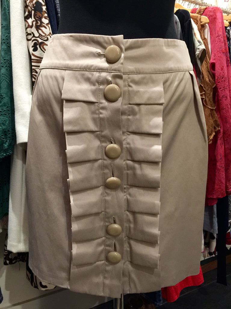 """Cooper St"" Satin Chunky Button Pleated Front Mini Skirt (PL10256) - Stranger.Things.Emporium, Clothing (Womens) - Vintage & Preloved"