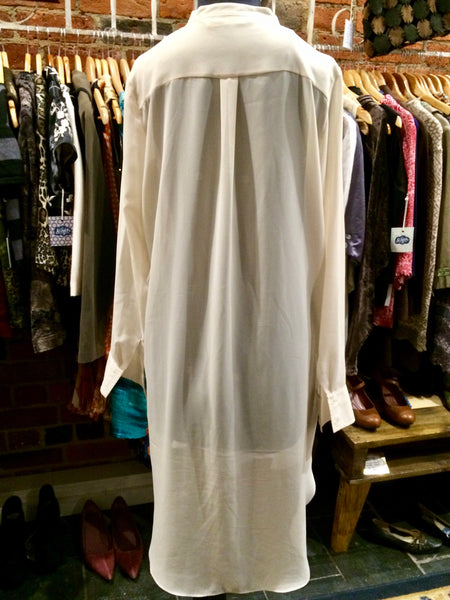 """Seed"" Cream Sheer Chiffon Maxi Shirt (PL10465) - Stranger.Things.Emporium, Clothing (Womens) - Vintage & Preloved"