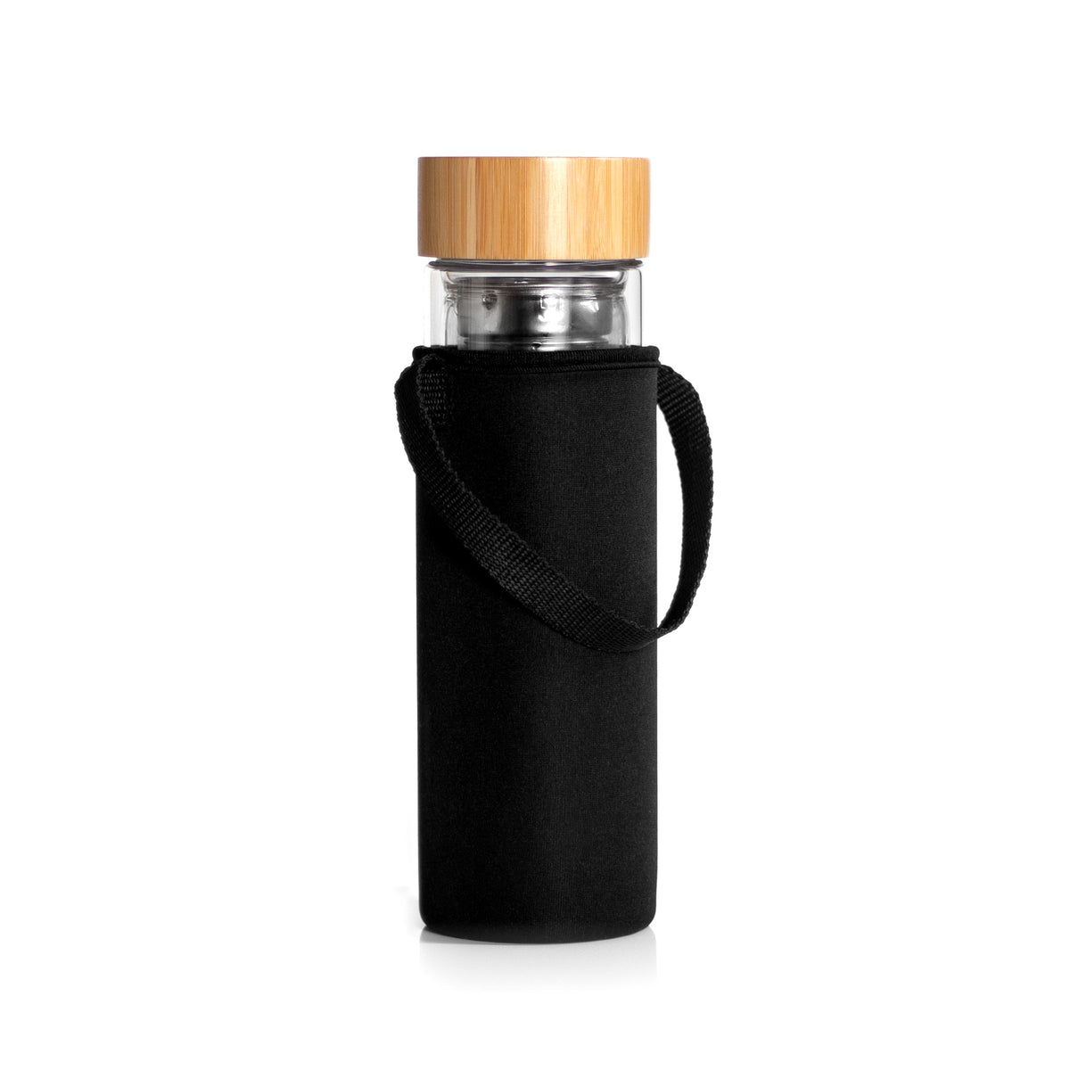Glass Loose Leaf Tea Tumbler with Infuser and Bamboo Lid