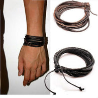 Leather Black and Brown Braided Rope Bracelets