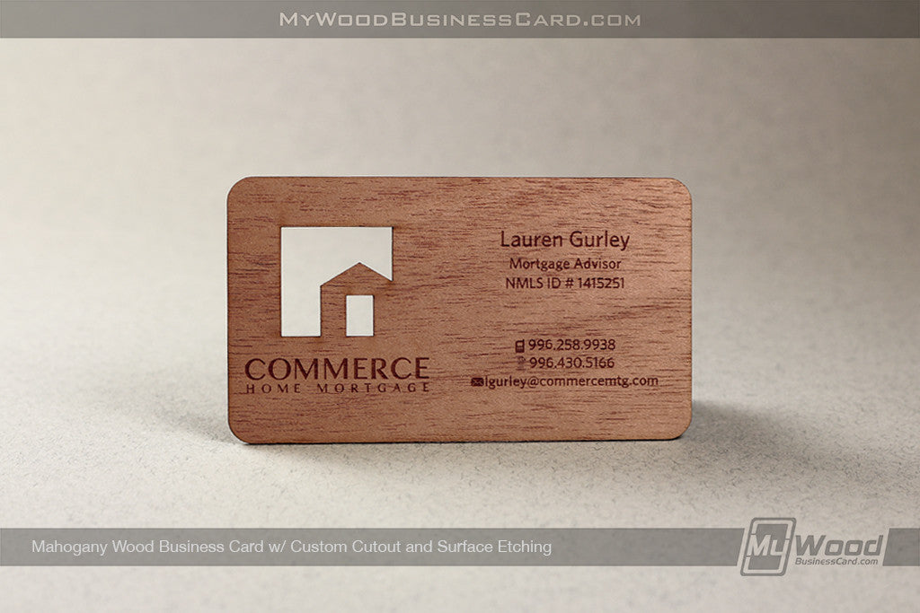Mahogany Wood Business Cards
