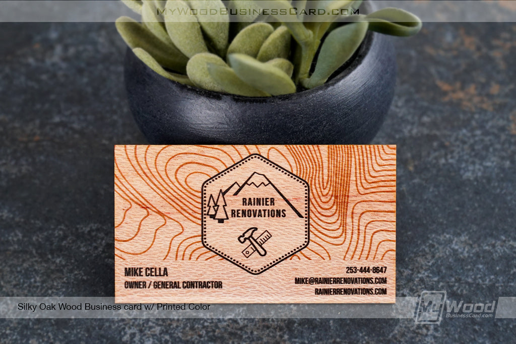 Silky Oak Wood Business Cards
