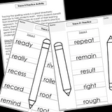 Modified Spelling Activities || Featuring 'r' Words || 4th Grade
