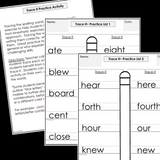 Modified Spelling Activities || Featuring Homophones || 4th Grade