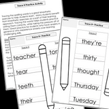 Modified Spelling Activities || Featuring 't' Words || 4th Grade