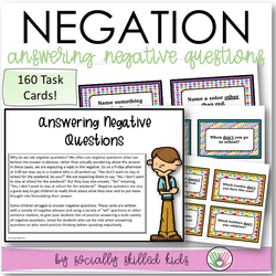 ANSWERING NEGATIVE QUESTIONS || Task Cards || For Elementary
