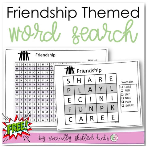 Friendship Themed Word Search | Freebie