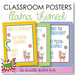 Llama Themed Classroom Rules Posters | Freebie