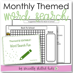 Word Searches | Monthly Themed & Editable