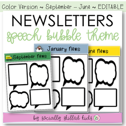 NEWSLETTERS Speech Bubble Theme | September To June | Color Version