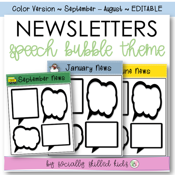 NEWSLETTERS Speech Bubble Theme | September To August | Color Version