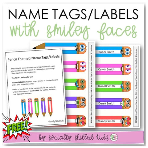 Pencil Themed Funny Face Name Tags/Classroom Labels | Freebie