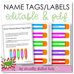 Pencil Themed Name Tags/Classroom Labels | Freebie