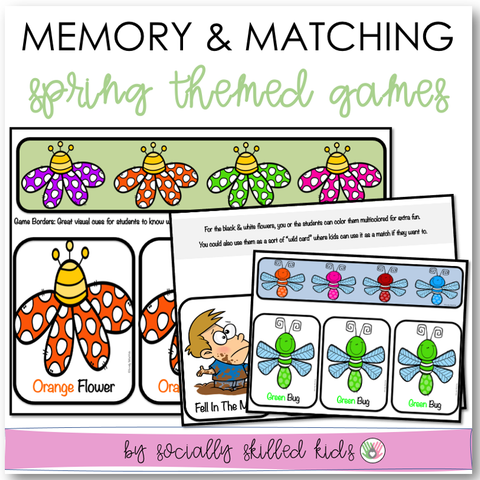 Memory and Matching Games | Spring Themed
