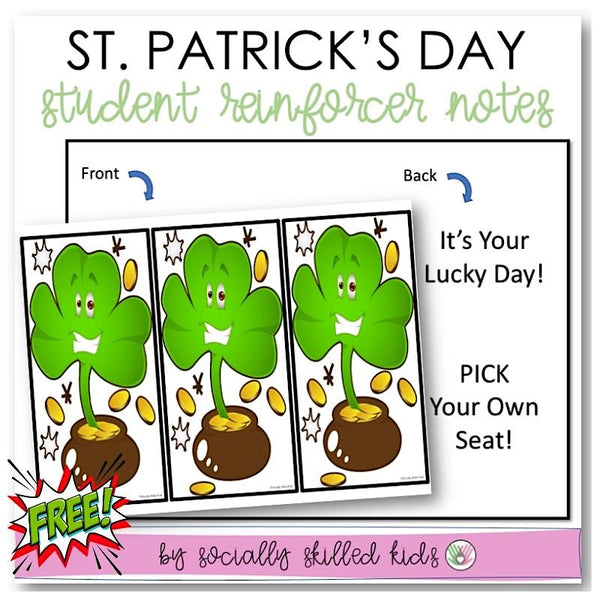 St. Patrick's Day Notes For Student Reinforcers | Freebie!