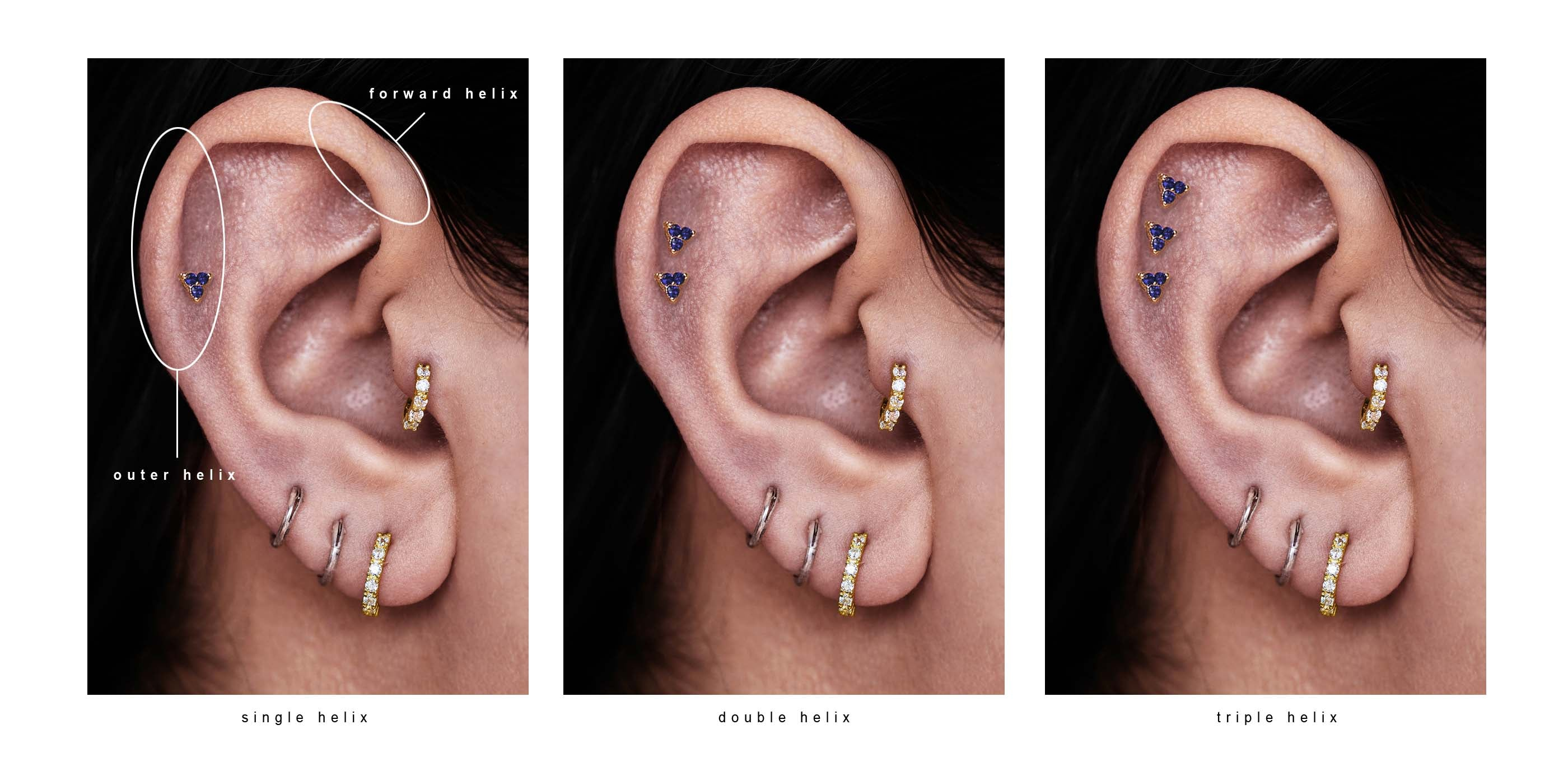 Helix Piercing - single, double and triple stack