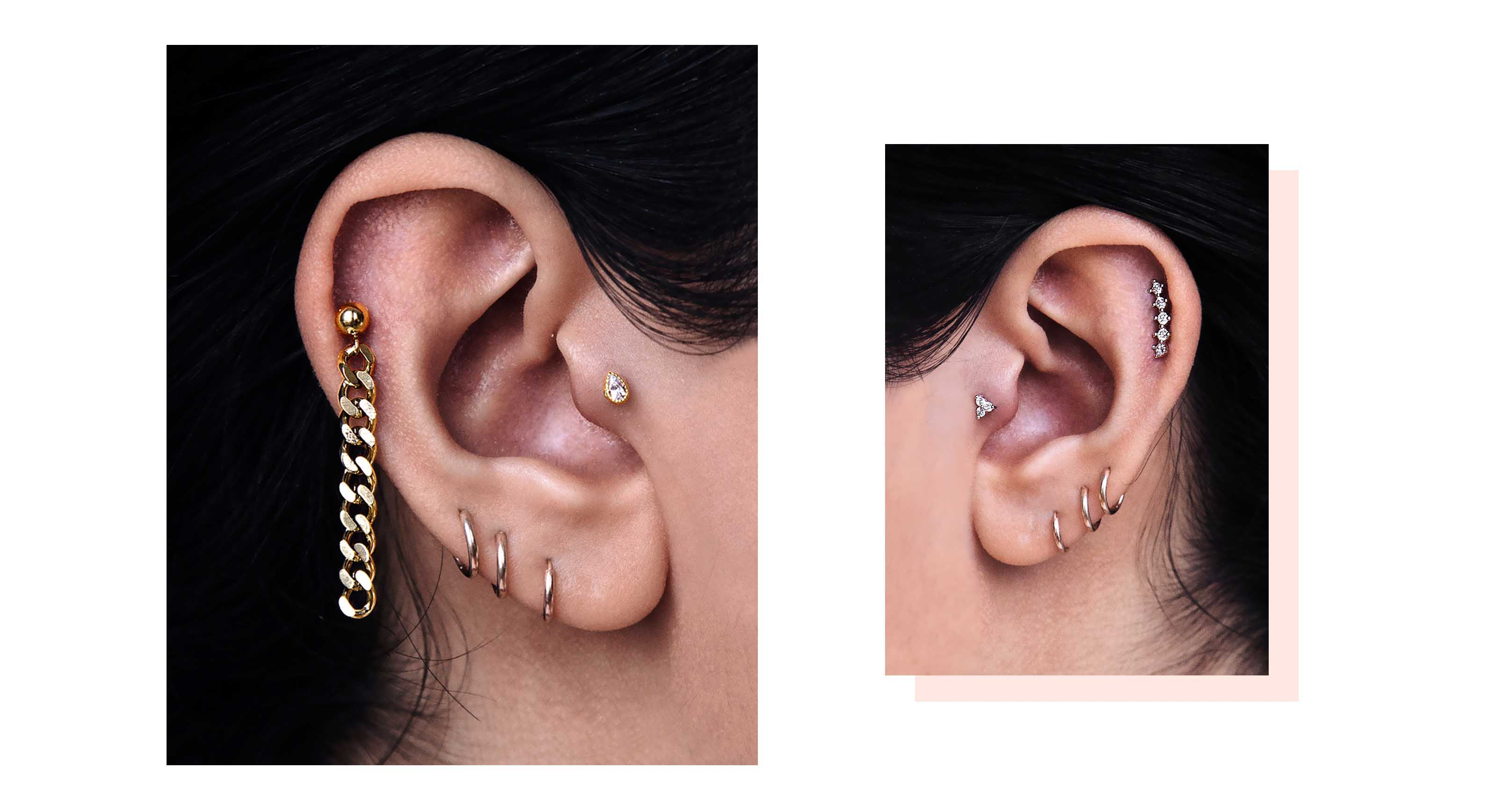 86553ef54 It's about breaking all the rules you know about ear piercing. Embrace  asymmetry and mismatched earrings. Combo different shapes, colours ...