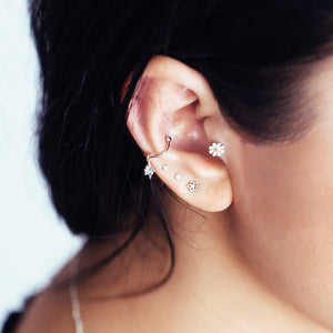 Asterisk Ear Cuff on model - silver