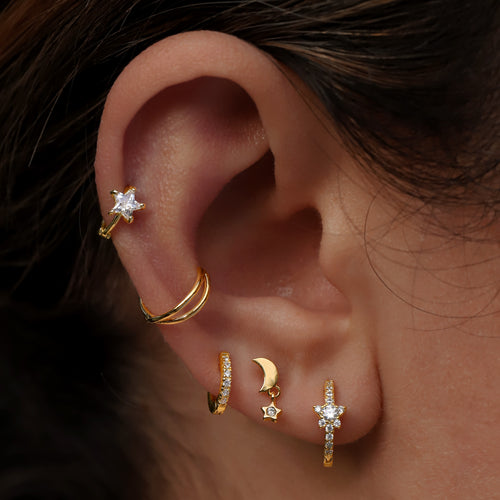 Orbit Star and Moon Piercing on model - gold