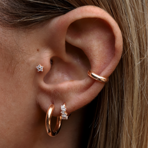 Crystal Daisy Piercing on model - rose gold