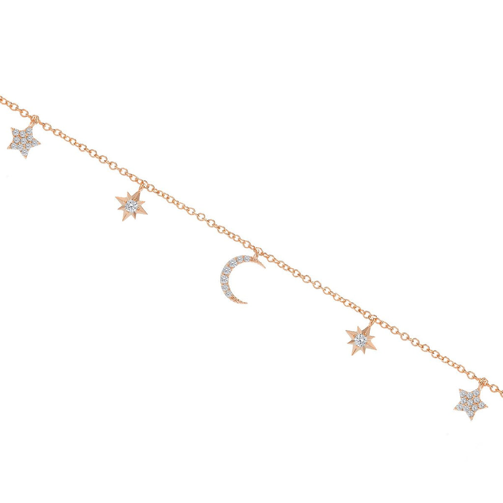 Counting Stars & Moon Anklet - rose gold