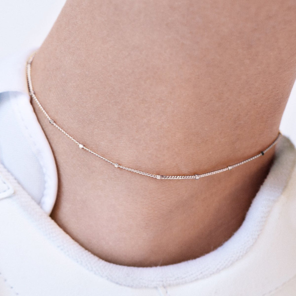 Disperse Bead Chain Anklet on model - sterling silver