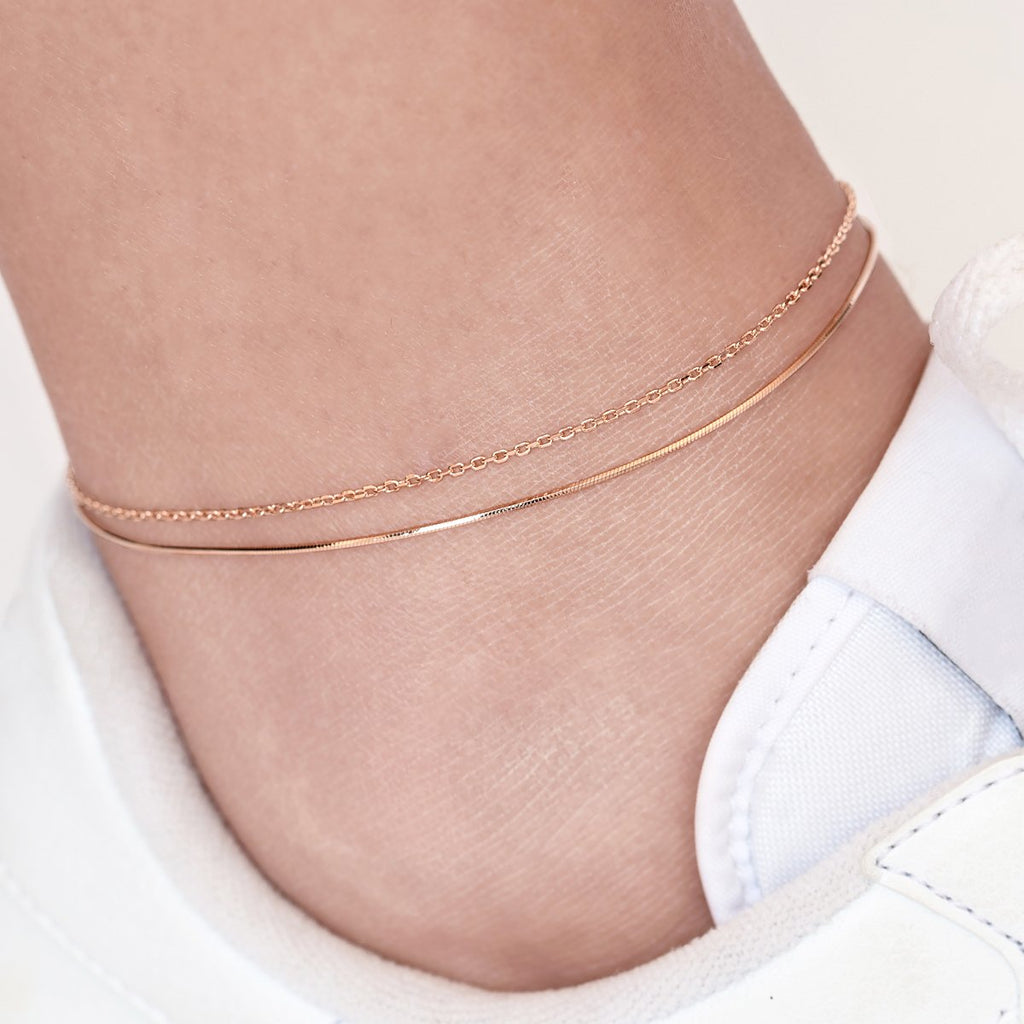 Gemini Twin Chain Anklet on model - rose gold